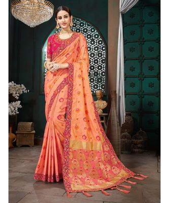 Peach Embroidered Bhagalpuri Silk saree with blouse