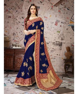 blue Embroidered Art Silk saree with blouse