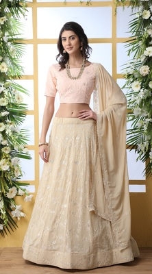 Beige sequence thread embroidery georgette semi stitched lehenga