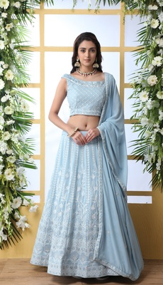 Sky-Blue Sequence Thread Embroidery Georgette Semi Stitched Lehenga