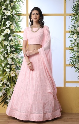 Baby-pink sequence thread embroidery georgette semi stitched lehenga