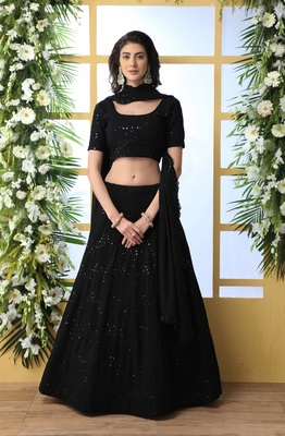 Black sequence thread embroidery georgette semi stitched lehenga