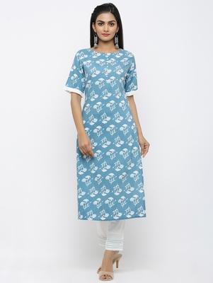 Women's Blue Pure Cotton Floral Printed Straight Kurta Pant Set