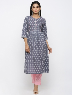 Women's Grey Pure Cotton Printed & Embroidered A-line Kurta Pant Set