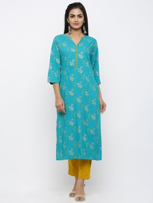 Women's Green Khadi Cotton Floral printed Straight Kurta Pant Set