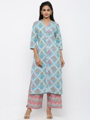 Women's Blue Cotton Printed Straight Kurta Palazzo Set