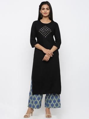 Women's Black Rayon Embroidery Straight Kurta Palazzo Set