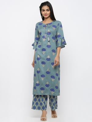 Women's Blue Rayon Printed Straight Kurta Palazzo Set
