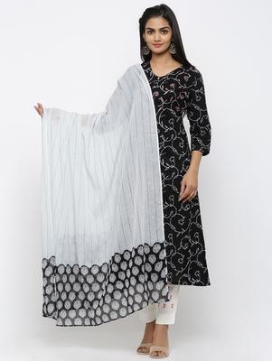 Women's Black Cotton & Mulmul Printed & Embroidery A-line Kurta Pant & Dupatta Set