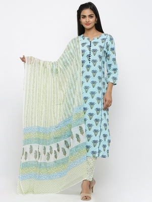 Women's Sky Blue Cotton Printed Straight Kurta Pant & Dupatta Set