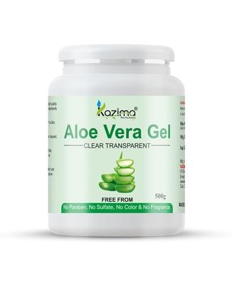 KAZIMA  Pure Natural Raw Aloe Vera Gel (500 Gram) - Ideal for Skin Treatment, Face, Acne Scars, Hair Treatment