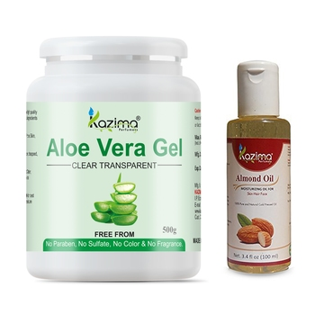 KAZIMA Aloe vera Gel Raw (500 Gram) and Almond Oil 100ml  Ideal for Skin Treatment, Face