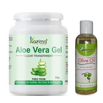 KAZIMA Aloe Vera Gel Raw (500 Gram) and Olive oil 100ml  - Ideal for Skin Treatment, Dark Circles, Face, Hair Treatment