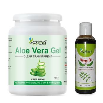 KAZIMA Aloe Vera Gel Raw (500 Gram) and Neem Oil 100ml Raw Combo Pack Ideal for Skin Treatment