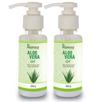 KAZIMA  Pure Natural Raw Aloe Vera Gel 200 Gram (Pack of 2) - Ideal for Skin Treatment, Face, Acne Scars, Hair Treatment