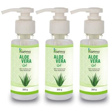 KAZIMA  Pure Natural Raw Aloe Vera Gel 200 Gram (Pack of 3) - Ideal for Skin Treatment, Face, Acne Scars, Hair Treatment
