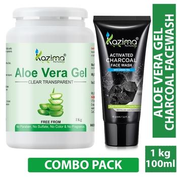 KAZIMA  Combo of Aloe Vera Gel 1kg + Charcoal Facewash 100ml