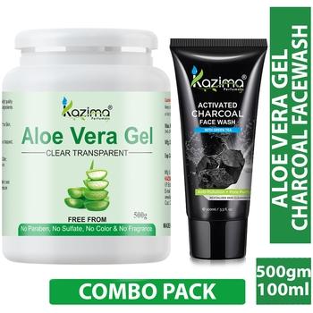 KAZIMA  Combo of Aloe Vera Gel 500g + Charcoal Facewash 100ml