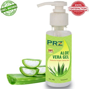 PRZ Pure Natural Aloe Vera Gel Raw (200 Gram) - Ideal for Skin Treatment, Face, Acne Scars, Hair Treatment