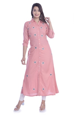 Pink Color Rayon Fabric Long Kurti