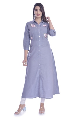 Grey Color Cotton Fabric Long Kurti