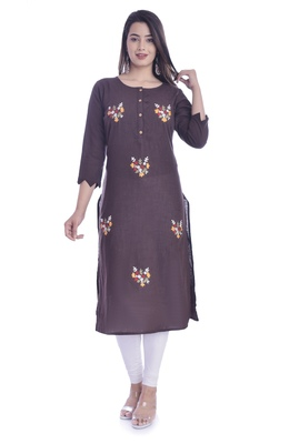 Brown Color Cotton Fabric Straigh Kurti