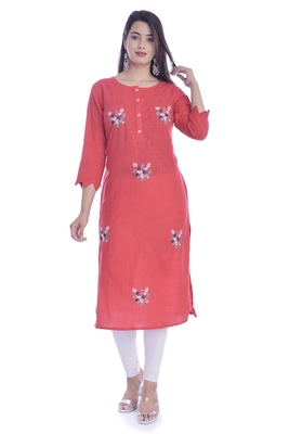 Red Color Cotton Fabric Straight Kurti
