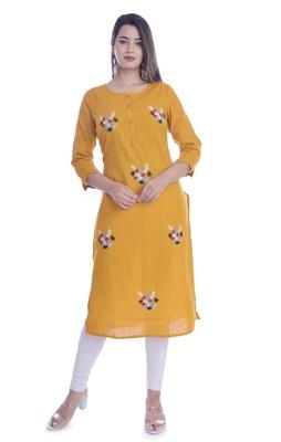 Yellow Color Cotton Fabric Straight Kurti