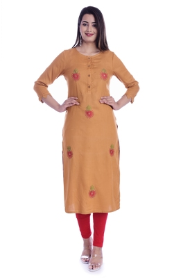 Copper Color Cotton Fabric Straight Kurti