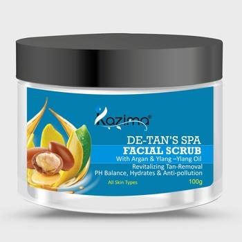 KAZIMA DE-Tan   s SPA Facial Scrub (100g) with Argan & Ylang Ylang Oil pH Balance, Hydrates & Anti-pollution