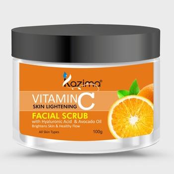 KAZIMA VITAMIN C Face Scrub (100g) Fairness Brightens Skin & Healthy Flow with Hyaluronic Acid  & Avocado Oil