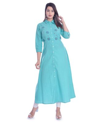 Turquoise Color Coton Slub Fabric A-Line Kurti