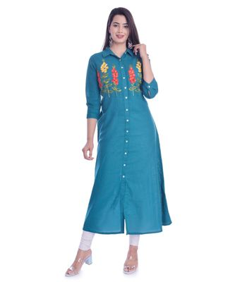 Blue Color Coton Slub Fabric A-Line Kurti