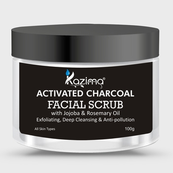 KAZIMA Activated Charcoal Facial Scrub (100g) with Jojoba & Rosemary Oil For Exfoliating, Deep Cleansing