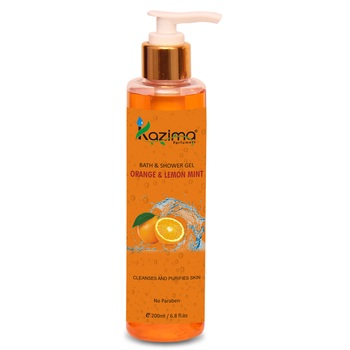 KAZIMA Orange & Lemon Mint Bath Shower Gel & Luxury Body Wash with Vitamins C (200ML)