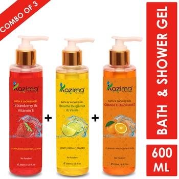 KAZIMA Breathe Bergamot & Vanilla Bath Gel + Strawberry & Vitamin E Shower Gel + Orange & Lemon Mint Shower Gel