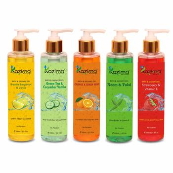 KAZIMA Breathe Bergamot & Vanilla Bath Gel + Strawberry & Vitamin E Shower Gel + Orange & Lemon Mint Shower Gel