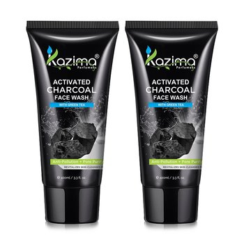 KAZIMA Activated CHARCOAL Face Wash With Green Tea For Anti Pollution, ANTI AGING & Anti Acne Pimple Scars