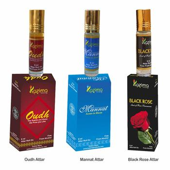KAZIMA Sensual Exotic Attar Perfume For Unisex For Unisex Combo (3 Pcs Pack of 8ML Roll On) Free From Alcohol)