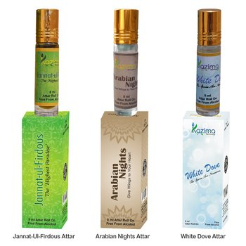 KAZIMA Sensual Young Heart Attar Perfume For Unisex For Unisex Combo (3 Pcs Pack of 8ML Roll On) Free From Alcohol)