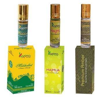 KAZIMA Charming Concentrated Attar Perfume For Unisex For Unisex Combo (3 Pcs Pack of 8ML Roll On) Free From Alcohol)