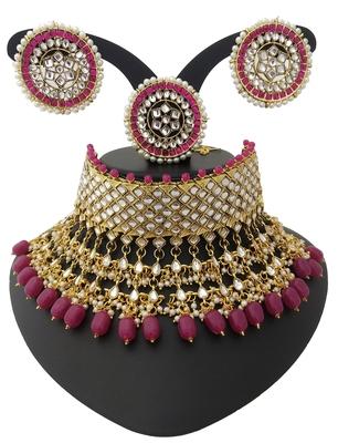 Ethnic Indian Bollywood Celebrity Ruby White Kundan Pearl 4 pc Choker Bridal Jewelry Set