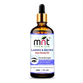 MNT Lashes & Brows Grow Beauty Oil with Argan & Jojoba Oil (30ml) For Thicker, Longer Eyebrows