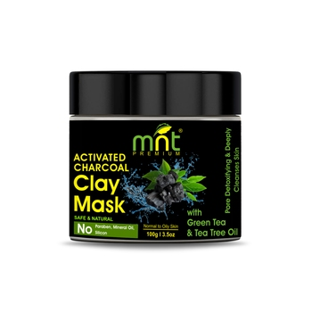 MNT Activated Charcoal Clay Mask with Green Tea & Tea Tree Oil for All Skin Types |Pore Detoxifying