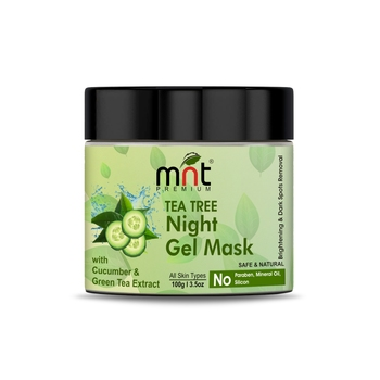MNT Tea Tree Night Gel Mask with Cucumber & Green Tea Extract for All Skin Types Skin Brightening