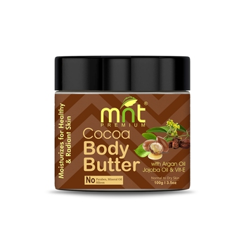 MNT Cocoa Body Butter with Argan Oil, Jojoba Oil & Vitamin-E for Healthy & Radiant Skin, (100g)