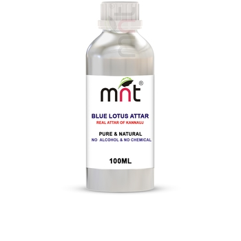 MNT Blue Lotus Attar For Unisex, Long Lasting & Alcohol Free (100ml) - Pure Natural & Premium Quality Roll-on Attar