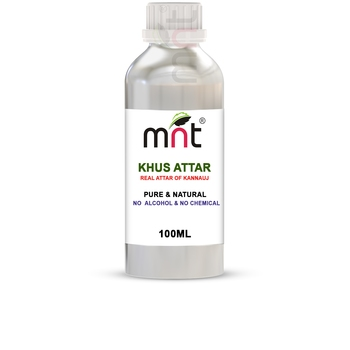 MNT Khus Attar For Unisex, Long Lasting & Alcohol Free (100ml) - Pure Natural & Premium Quality Roll-on Attar