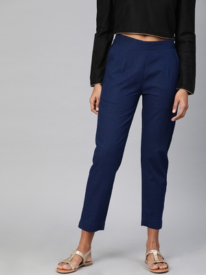 Blue plain cotton trousers