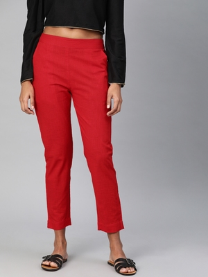 Red plain cotton trousers